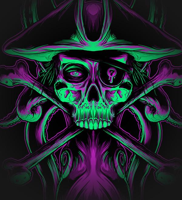 Seventh.Ink - Skullduggery GID Design by Seventhfury aka Matthew Johnson