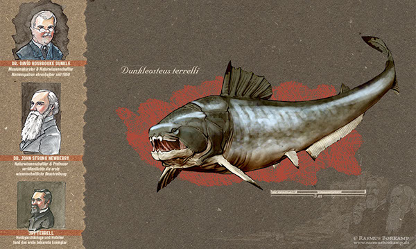 3D paleontology dunkleosteus placoderm reconstruction Dinosaur fish prehistoric scientific illustration biology Education