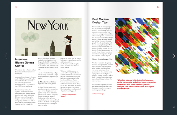 Emagazine print spreads page layout