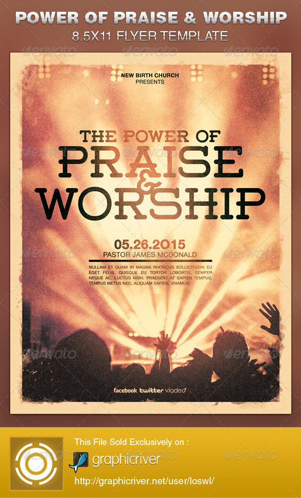 Power Of Praise And Worship Church Flyer Template On Behance