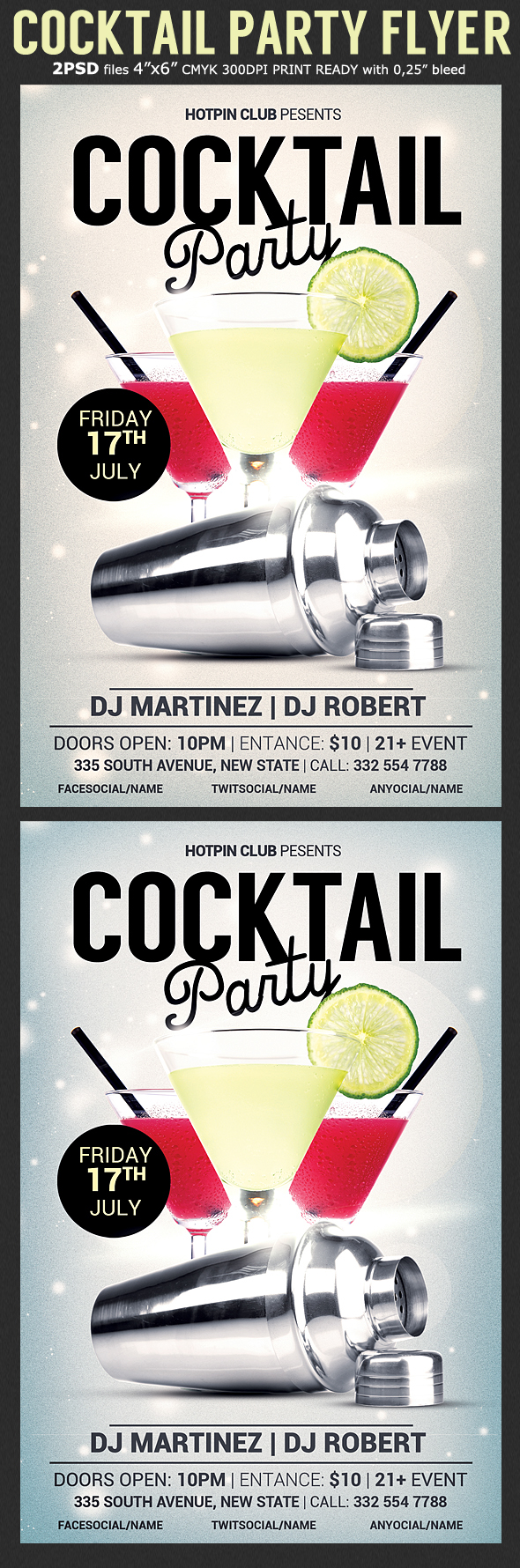 cocktail party flyer template on behance