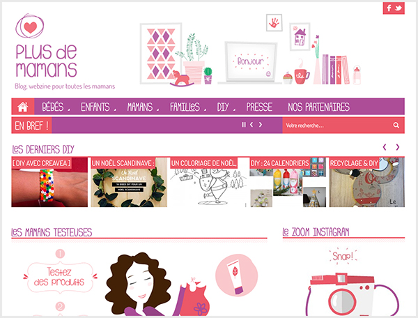 Vector Illustration flat design Website pink purple Blog webzine woman mums kids