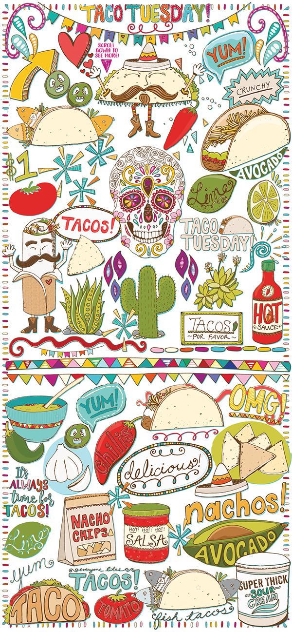 Taco Tuesday, Everyday! Vector Illustrations on Wacom Gallery
