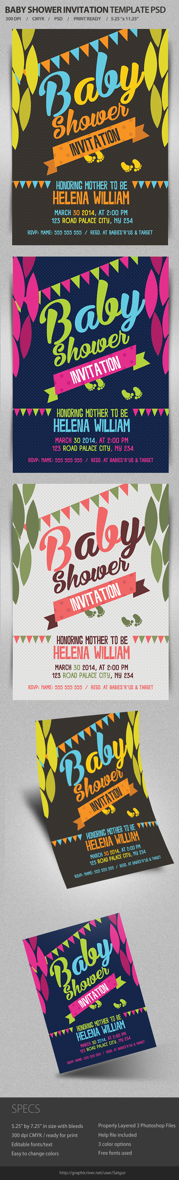 Baby Shower Invitation Template Psd On Behance