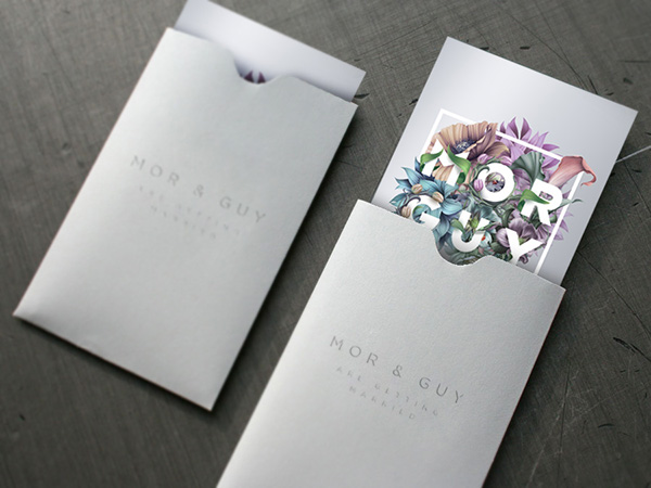 Invitation wedding Flowers silver Hipster sexy