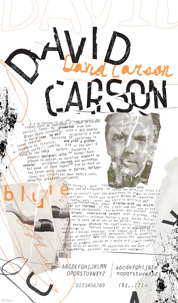 "a brief look at the work of david carson ""illegible"" david carson cannot not communicate but what really put carson on the map is his work as art director for ray gun ""david carson is."