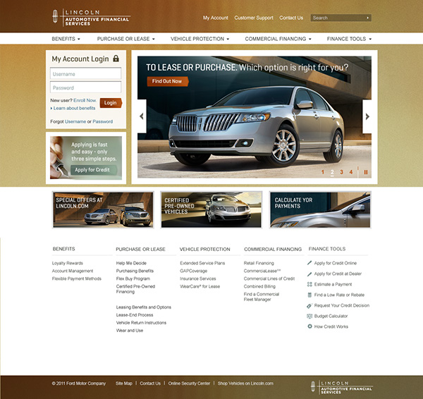 Lincoln Lease Offers: Lincoln Automotive Financial Services On Behance