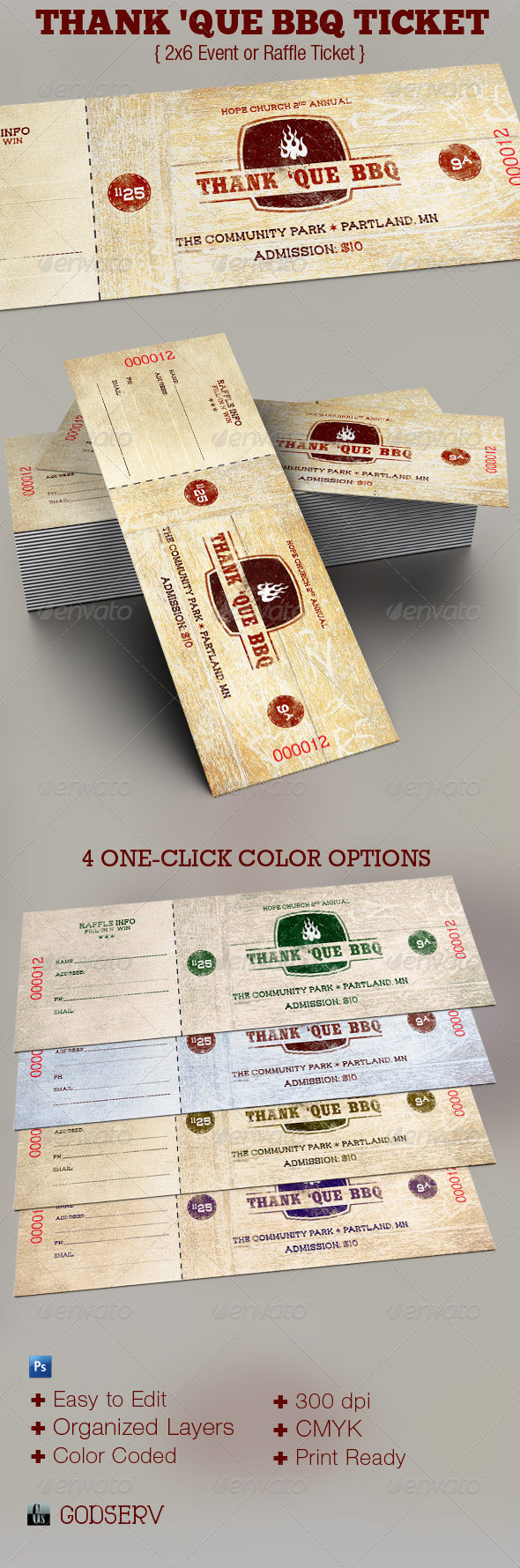 thank que western bbq charity ticket template on behance