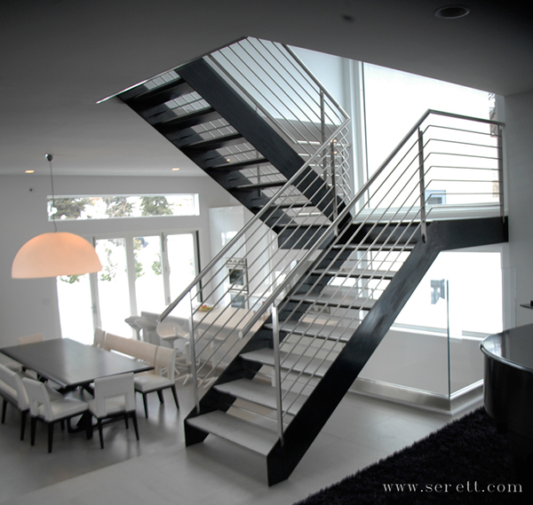 This Steel Double Stringer Staircase Has A Stainless Steel Handrail And Is  A Stunning Addition To This Modern Home.