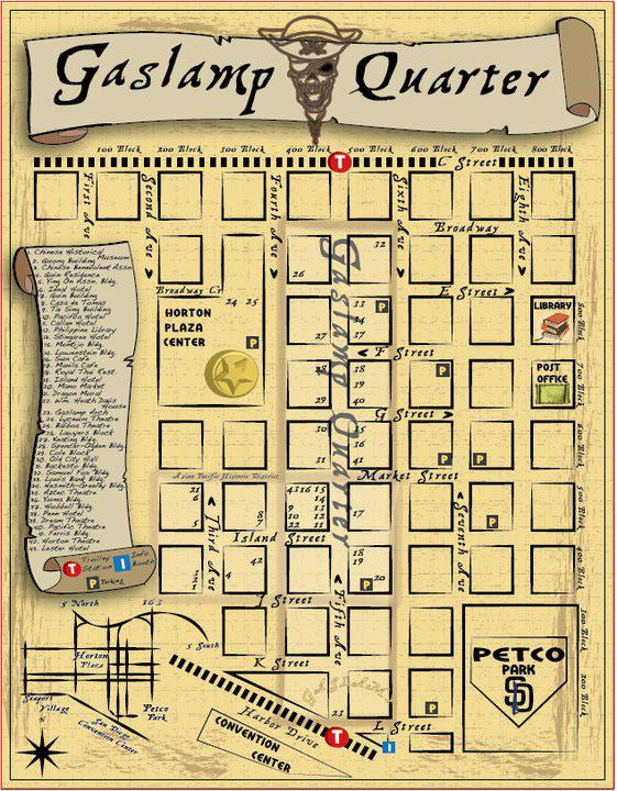 san diego gaslamp map Book Covers