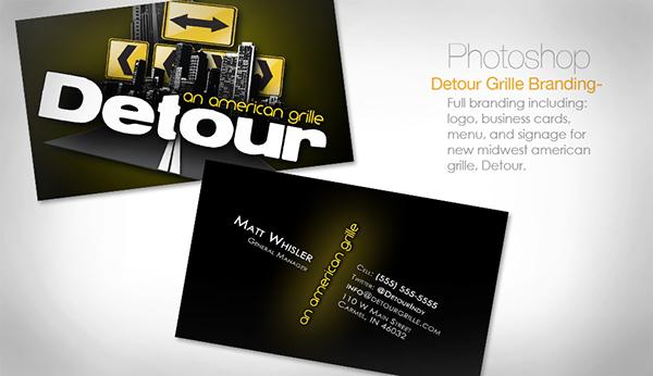 DETOUR grille menu Business Cards