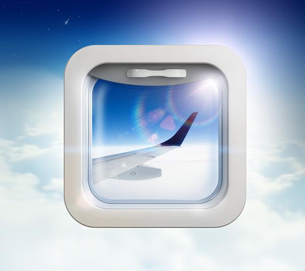 illuminator glass 3D reflections Flights SKY airplane Icon ios