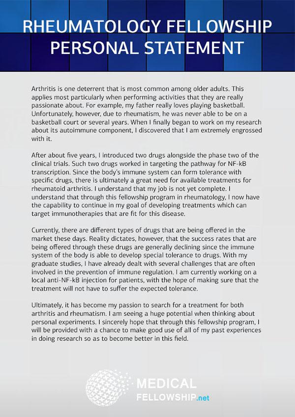 Rheumatology Fellowship Personal Statement Sample On Behance