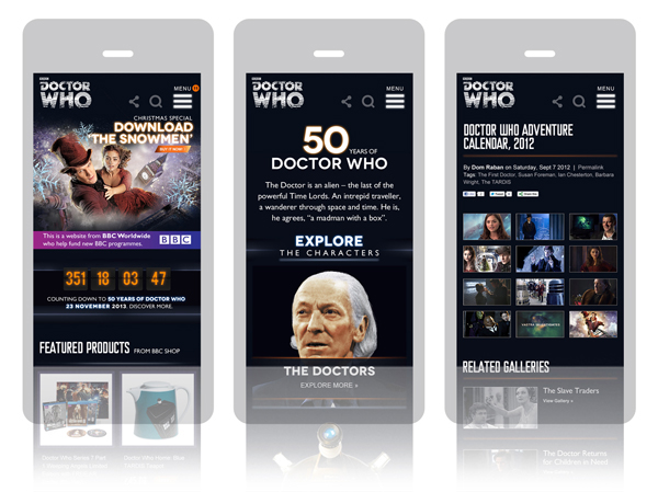 BBC BBC Worldwide Responsive Design Responsive Doctor Who Dr Who