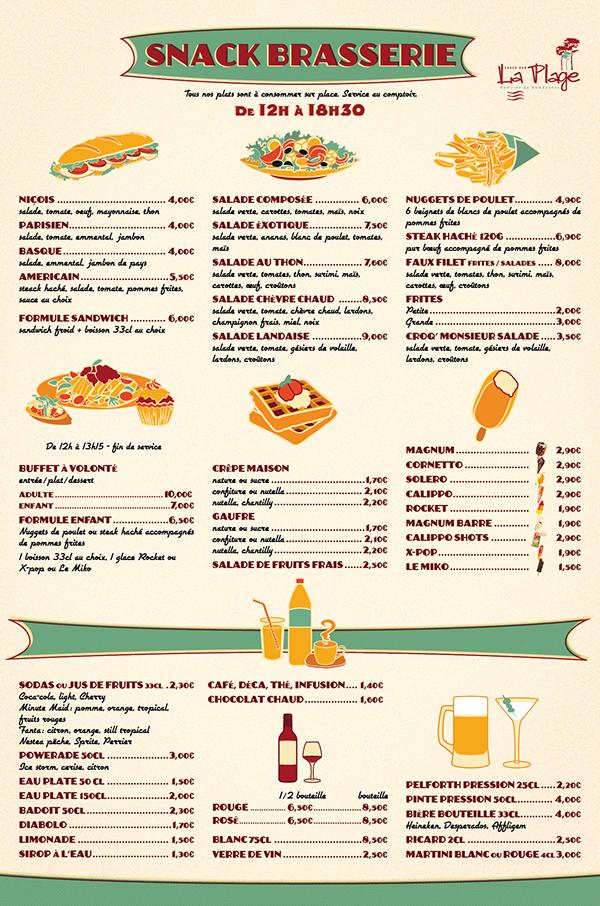Snack bar la plage on behance for Bar food la menu