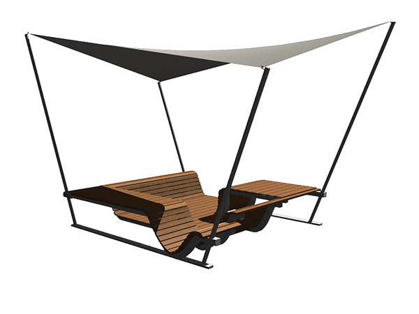Urban furniture. Seating positions for different uses