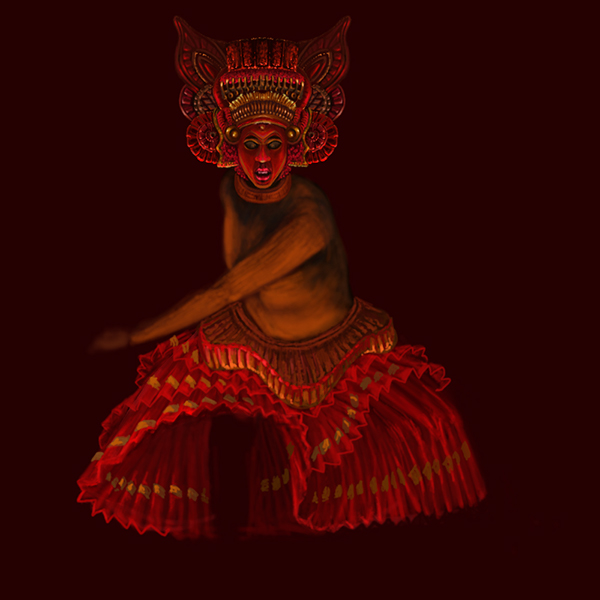 Theyyam digital painting on behance for C k muraleedharan