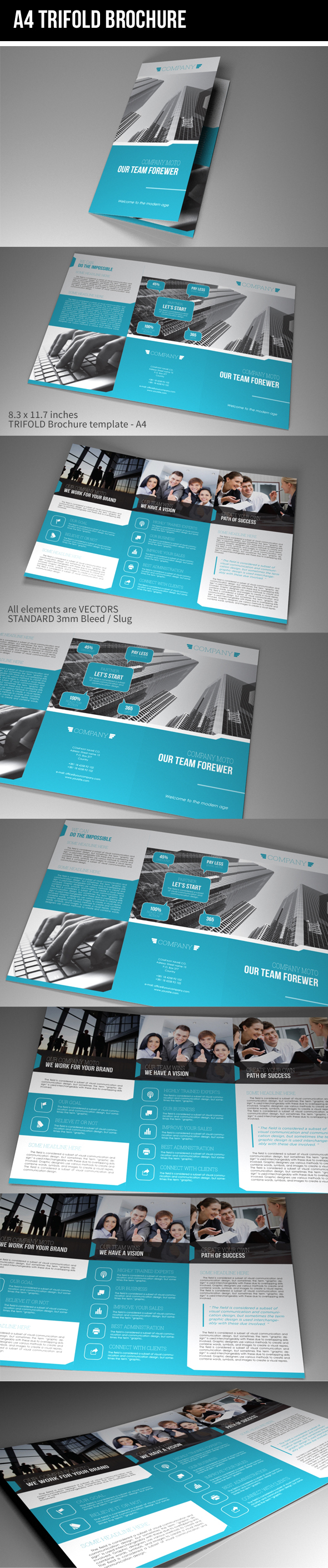 indesign template a4 trifold brochure on behance