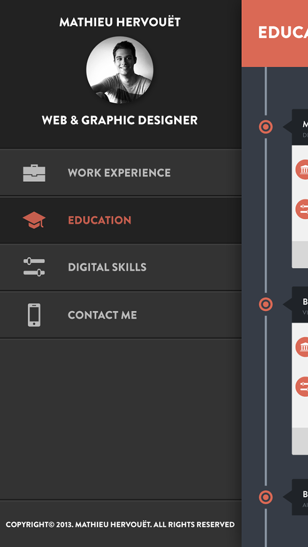 Digital Resume latel tpl Digital Resume Mobile Version On Behance