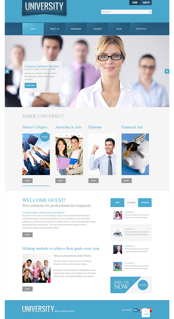 High School Website Template. high school website template themes ...