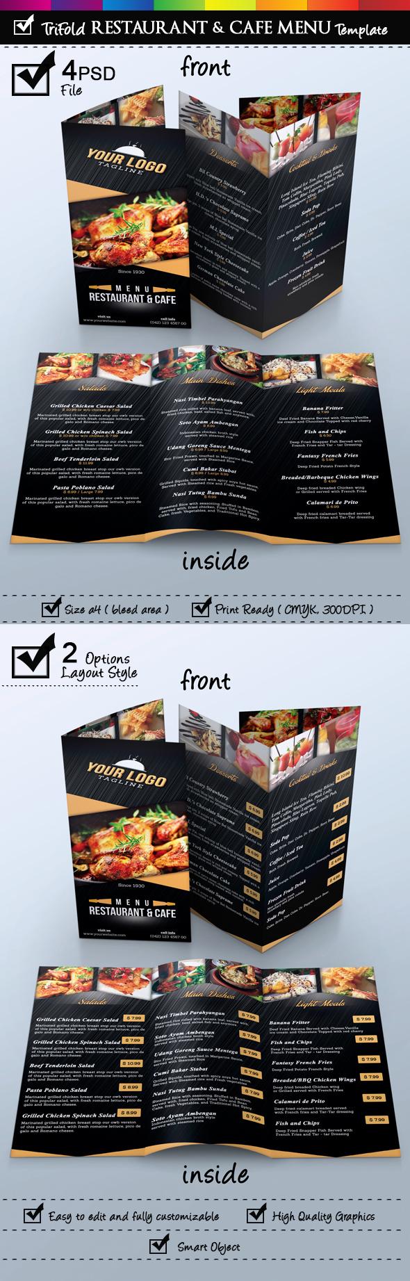 Trifold restaurant cafe menu template on behance maxwellsz