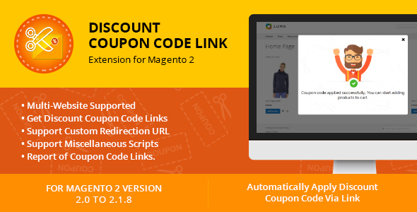 discount coupon code link extension for magento 2 on pantone canvas