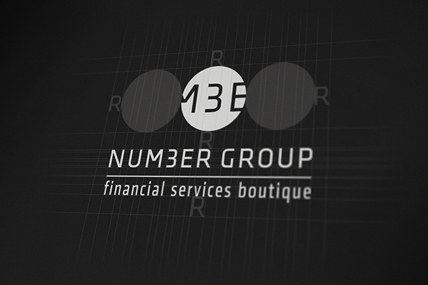number group red dot identity logo annual report cover business card financial boutique