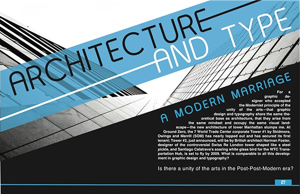 Architecture and type magazine spread on behance for D architecture magazine