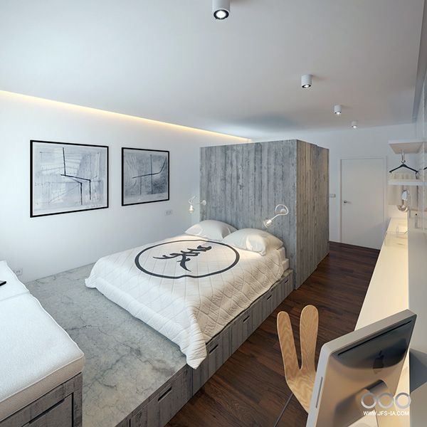 Hotel Bedroom Interior Design: Small Hotel Room On Behance