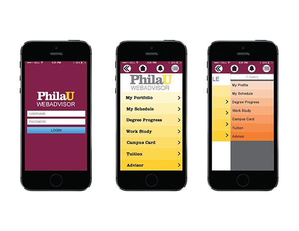philau campus card WebAdvisor App Design on PhilaU Portfolios