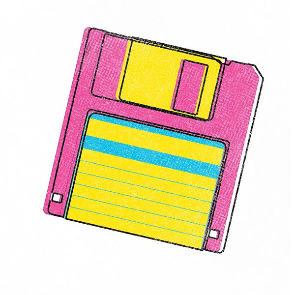 CMYK vector  90s  throwback  vhs floppy disk  Cassette  illustrator