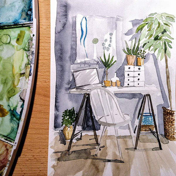 Watercolor interior sketches on Student Show