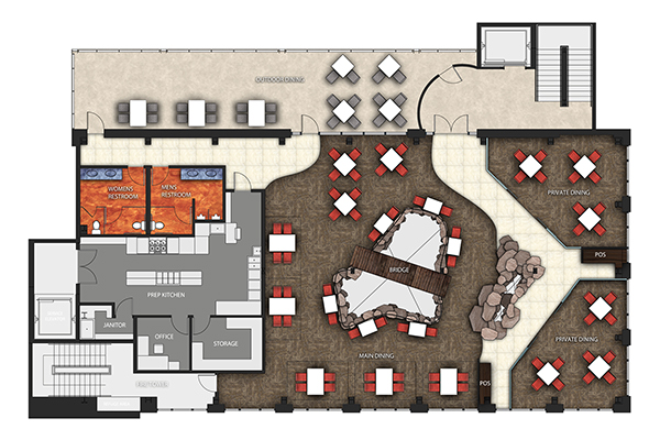 floor plan. first floor: entry, bar, bar-lounge, dining, kitchen, patio  dining, restrooms