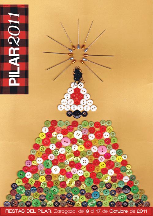 Fiestas del Pilar cartel fiestas collage botones buttons poster local party