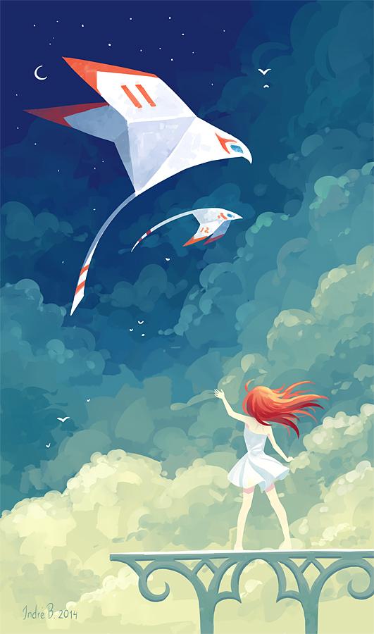 SKY birds freeminds girl night clouds moon fantasy stars planes blue orange
