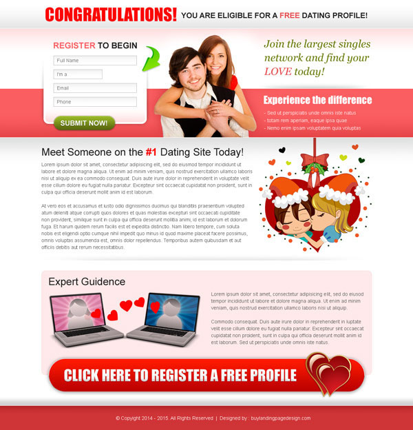 Online dating landing pages