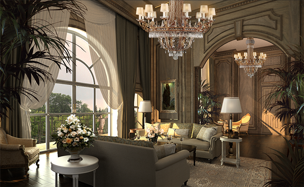 Mansion interior 3d max on behance for Modern mansion interior design
