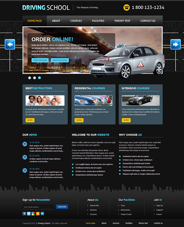 driving school the pleasure of driving joomla template on behance