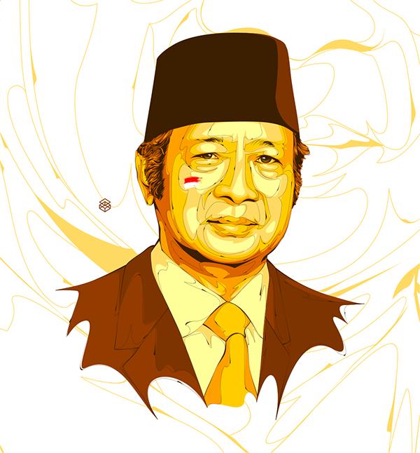 Soeharto, Tracing, illustration