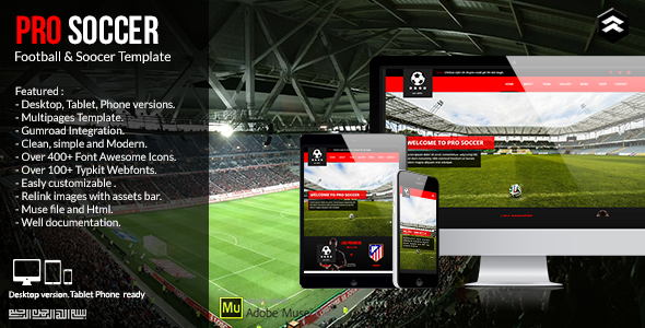 Pro Soccer - Football & Soccer Club Muse Template on Behance