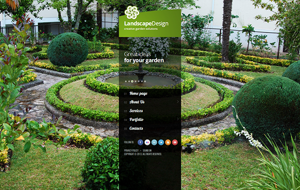 Landscape design creative garden solutio html5 template on for Creative landscape design