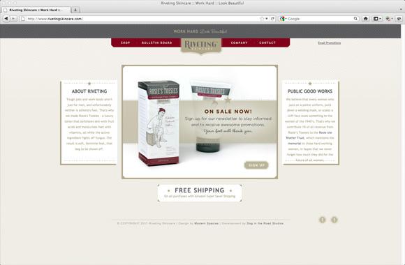riveting skincare personal care Website logo tough women rosie the riveter rosie's toesies