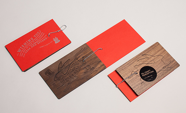 holiday cards  rabbit wood laser cutting new year's card letterpress