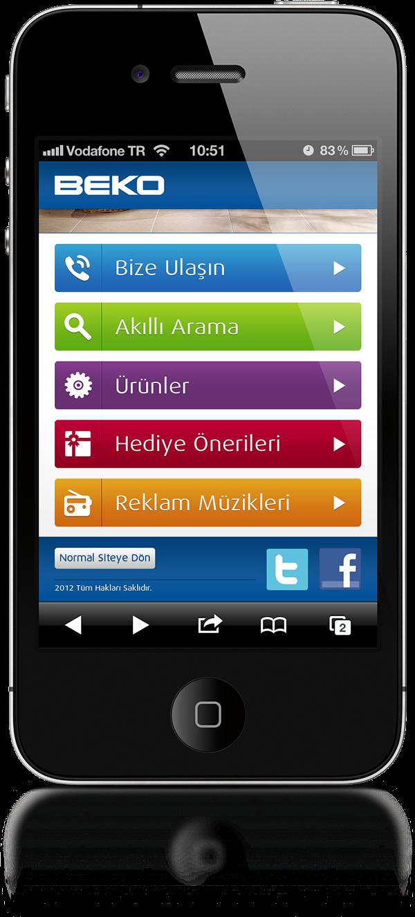beko, iOS,iphone,mobile web, mobile design
