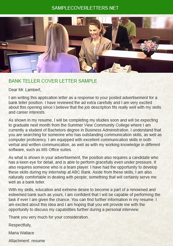 Bank Teller Cover Letter On Pantone Canvas Gallery