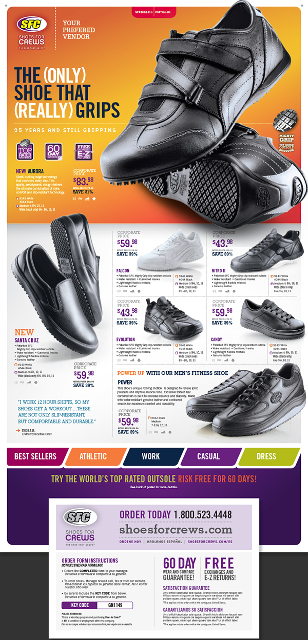 """Shoes For Crews is the world's recognized manufacturer of slip resistant products including shoes for men and women, protective gloves and door mats. Most recently, it introduced a new line, """"HealthCare Initiatives†to prevent slips in the healthcare industry. Customers review Shoes For Crews as a great company because of its quality products, customer friendly services and."""