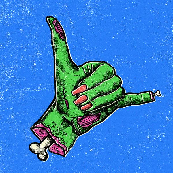 mão decepada com ossos a mostra fazendo o sinal hang loose