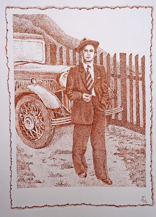old photo vintage Old car dotwork pointillismus