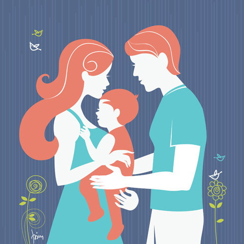 motherhood  mother  baby  pregnant  Pregnancy Silhouette Beautiful beauty family happy mother's day card set  design vector flower