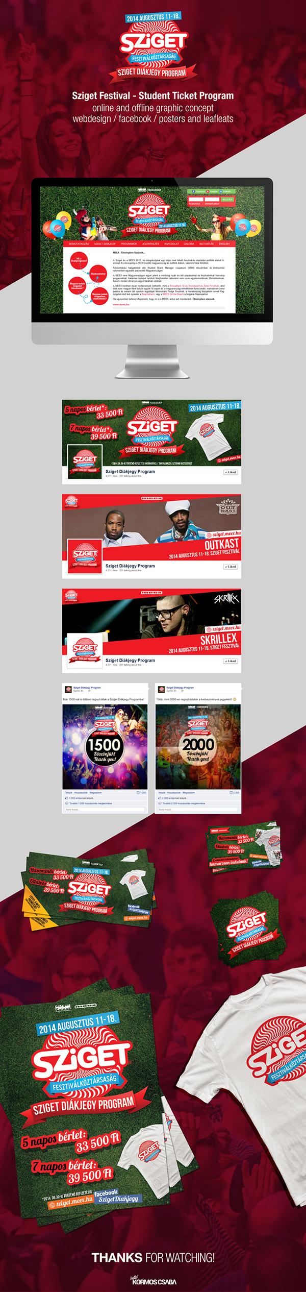 sziget festival flyer Webdesign t-shirt poster leafleat facebook cover timeline skrillex Outkast sticker budapest party